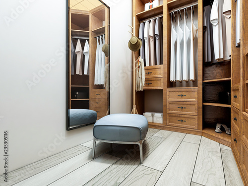 Narrow coat closet, brown closet Canvas-taulu