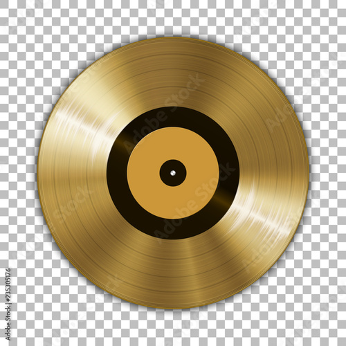 Cuadros en Lienzo  Gramophone golden vinyl LP record template isolated on checkered background