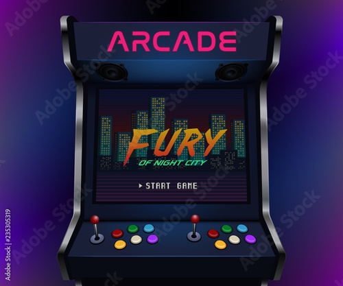 Leinwand Poster Retro arcade machine. Vector illustration