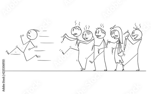 Vászonkép Cartoon stick drawing conceptual illustration of man running away from crowd of walking undead zombies