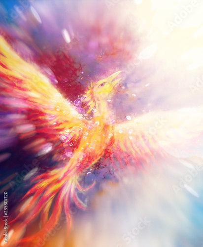 Flying phoenix bird as symbol of rebirth and new beginning. Wallpaper Mural