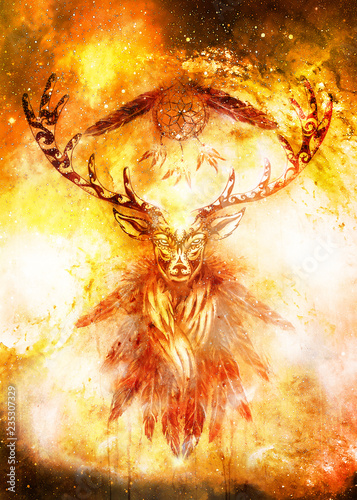 Photo  sacred ornamental deer spirit with dream catcher symbol and feathers in cosmic space
