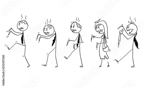 Cartoon stick drawing illustration of group of five undead zombie businessmen walking Tapéta, Fotótapéta