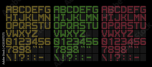 Digital yellow, green and red bold led font isolated on black background, vector Fototapeta