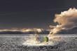 dramatische Szene mit verbrannter Erde durch ein Giftfass.künsterlische Fotomontage