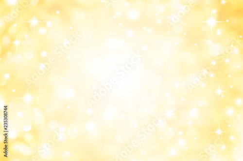 abstract blur glowing gold yellow color background with bokeh ,snow and shine st Fototapet