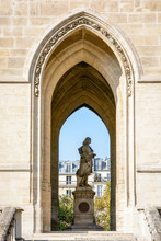 Statue Of French Scientist Of The 17th Century Blaise Pascal At The Base Of Saint-Jacques Tower In Paris, France.
