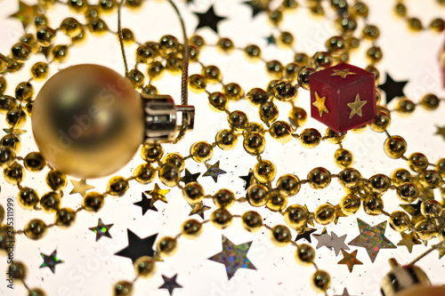 Fototapeta Christmas and New Year holidays background, winter season. Christmas greeting card obraz na płótnie
