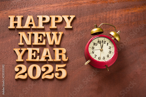 Fotografia  Happy New Year 2025 with clock