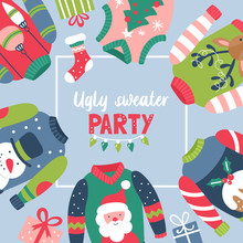 Christmas Holiday Cute Ugly Sweater Party Invitation Design.