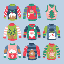 Christmas Holiday Cute Ugly Sweater Elements Set.