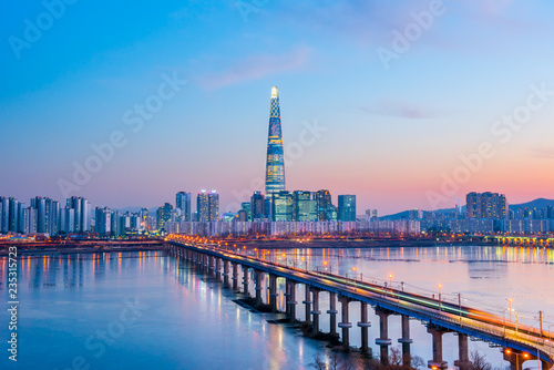 twilight sky at han river in seoul south korea Wallpaper Mural