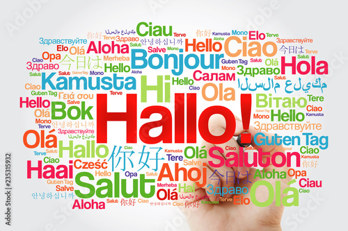 Valokuva  Hallo (Hello Greeting in German) word cloud in different languages of the world,