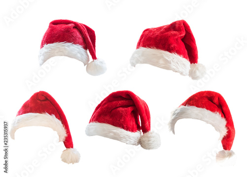 Fotografia  Santa Claus helper red hat costume set isolated on white background with clippin
