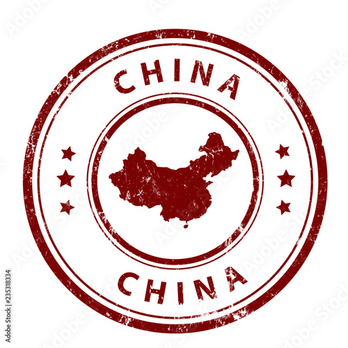 Foto  Stamp with map country - China. Grunge. Vector