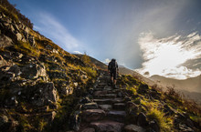Hiker Climbing Steep Steps At ...