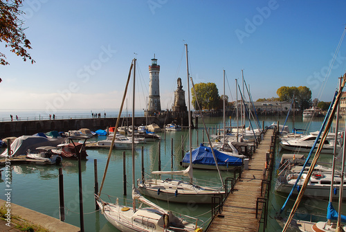 Photo  Harbour entrance of Lindau,  Lake Constance (German: Bodensee) with the new ligh