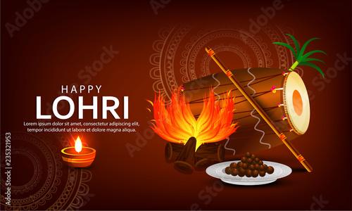 Punjabi festival of lohri celebration bonfire background with decorated drum Billede på lærred