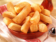 canvas print picture - CHUNKY FRIED POTATO CHIPS OR THICK CUT FRENCH FRIES