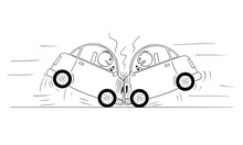 Cartoon Stick Drawing Conceptual Illustration Of Two Cars Frontal Head-on Crash Accident.