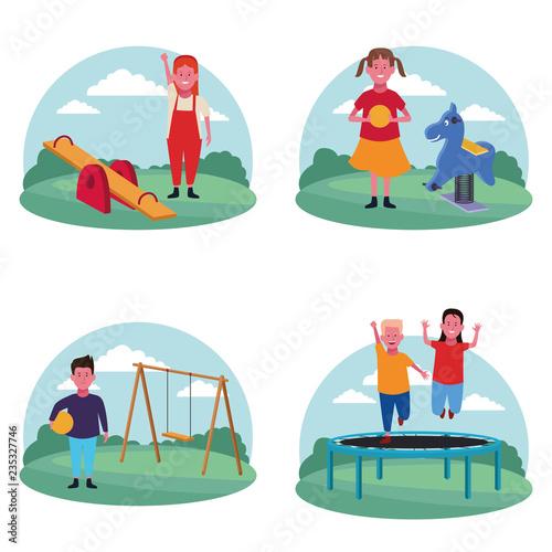 Fototapeta set of children at the playground obraz na płótnie