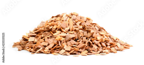 Valokuvatapetti Wood chips isolated on white