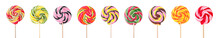 Set Of Different Sweet Candies On White Background
