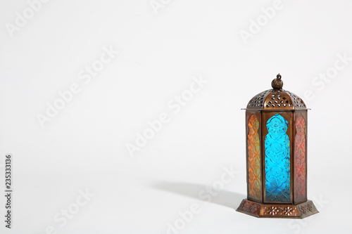 Muslim lamp on white background with space for text. Fanous as Ramadan symbol