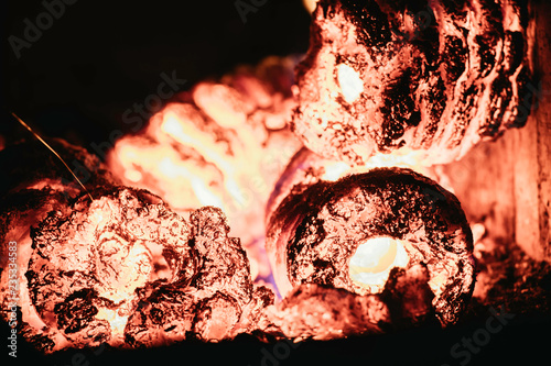 Blaze fire flame in oven Canvas Print
