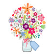 drawing a bouquet of flowers in a jar on a white background with a business card