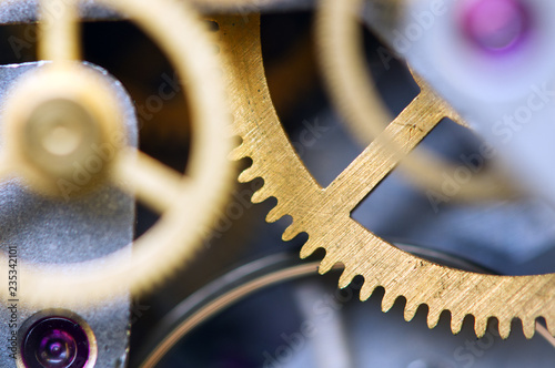 Background with metal cogwheels clockwork. Conceptual photo for your successful business design. Macro