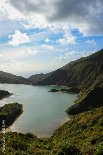 Foto op Aluminium Zee / Oceaan beautiful lagoon surrounded by mountains. Ancient volcano crater. Fire lagoon Azores Islands Portugal