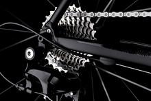 Bicycle Bike Rear Derailleur Gear Casette Chain Detail Close Up Shot Black Dark Background