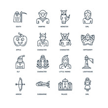 Set Of 16 Universal Editable Icons. Includes Elements Such As Gi