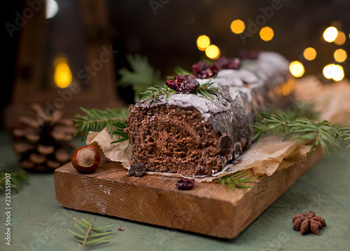 Fotografie, Tablou  Chocolate swiss roll cake roulade with nuts
