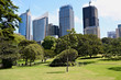 View on business centre from city park in Sydney