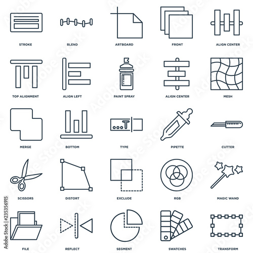 Fotografie, Obraz  Set Of 25 Universal Editable Icons. Includes Elements Such As Tr