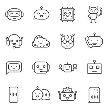 Bot Assistant, Icon Set. Artificial Intelligence, Linear Icons. Line With Editable Stroke