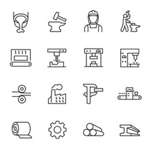 Metallurgy, Icon Set. Metal Pr...