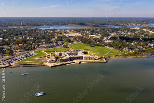 Aerial view of Castillo de San Marcos National Monument in Saint Augustine, Flor Wallpaper Mural