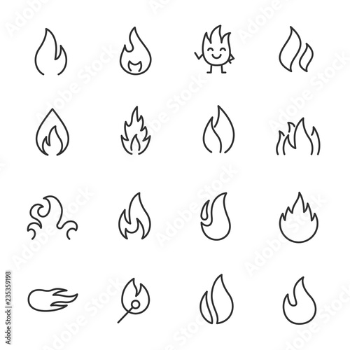 Fotografia flames, icon set