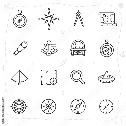 vintage navigation and measuring devices for seafarer, icon set Canvas Print