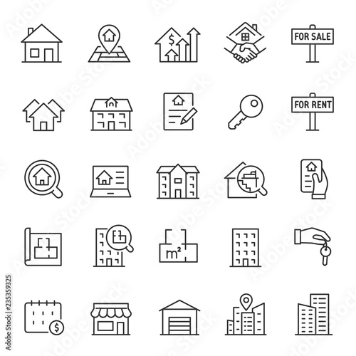 Obraz Real estate, icon set. Purchase and sale of housing, rental of premises, linear icons. Line with editable stroke - fototapety do salonu