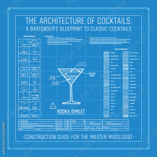 Valokuva Classic Cocktail Construction Blueprint Mixology Bartender Guide