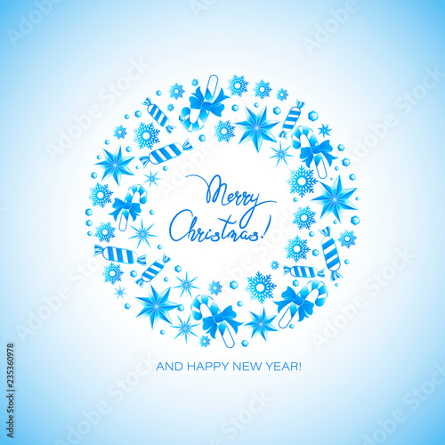 Poster With A Christmas Wreath With Candies Stars From The