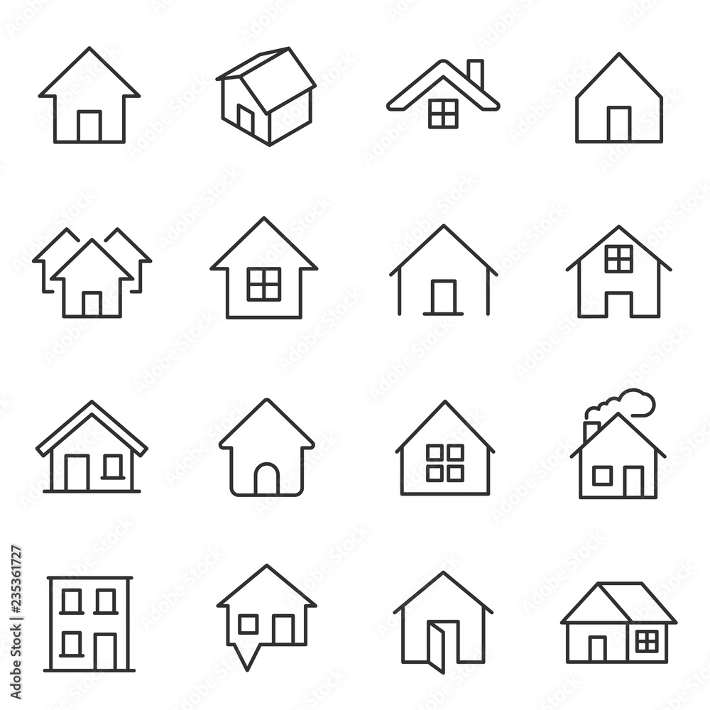 Fototapety, obrazy: House, icon set. Houses, buildings, linear icons. Line with editable stroke
