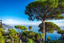 Gardens Of Villa Rufolo On Amalfi Coast With Gulf Of Salerno In Ravello, Italy.
