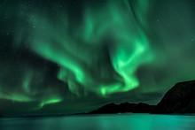 Aurora Borealis - Northern Lights - View From Grotfjord - Kwaloya -  North Norway