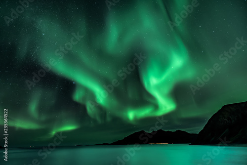 Wall Murals Northern lights Aurora Borealis - northern lights - View from Grotfjord - Kwaloya - north Norway