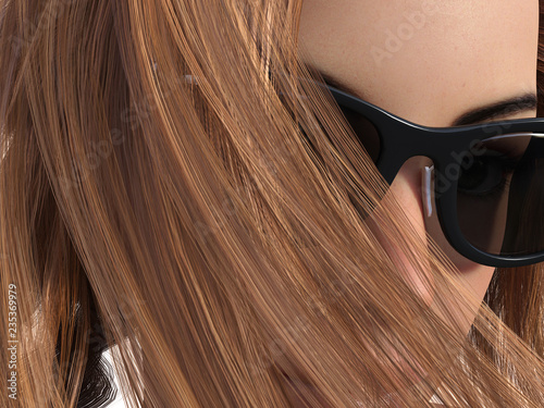 Valokuva  Close 3d Illustration a woman with a windswept hair across her face wearing sunglasses